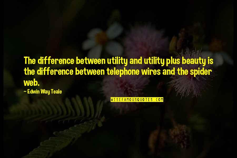 Spider Web Quotes By Edwin Way Teale: The difference between utility and utility plus beauty