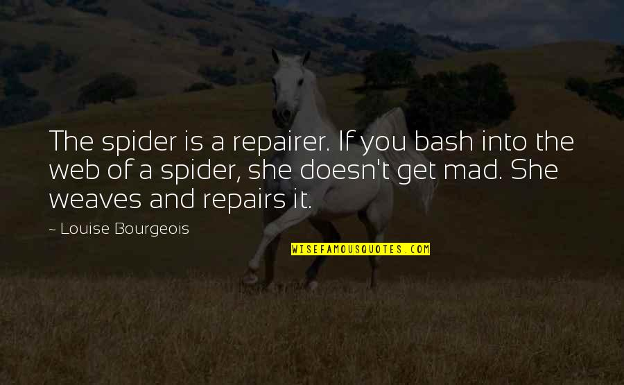 Spider Web Quotes By Louise Bourgeois: The spider is a repairer. If you bash