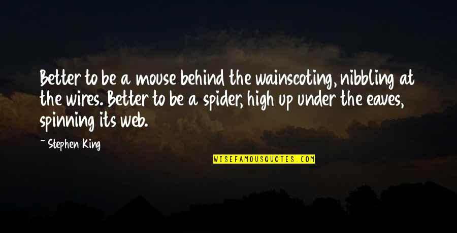 Spider Web Quotes By Stephen King: Better to be a mouse behind the wainscoting,
