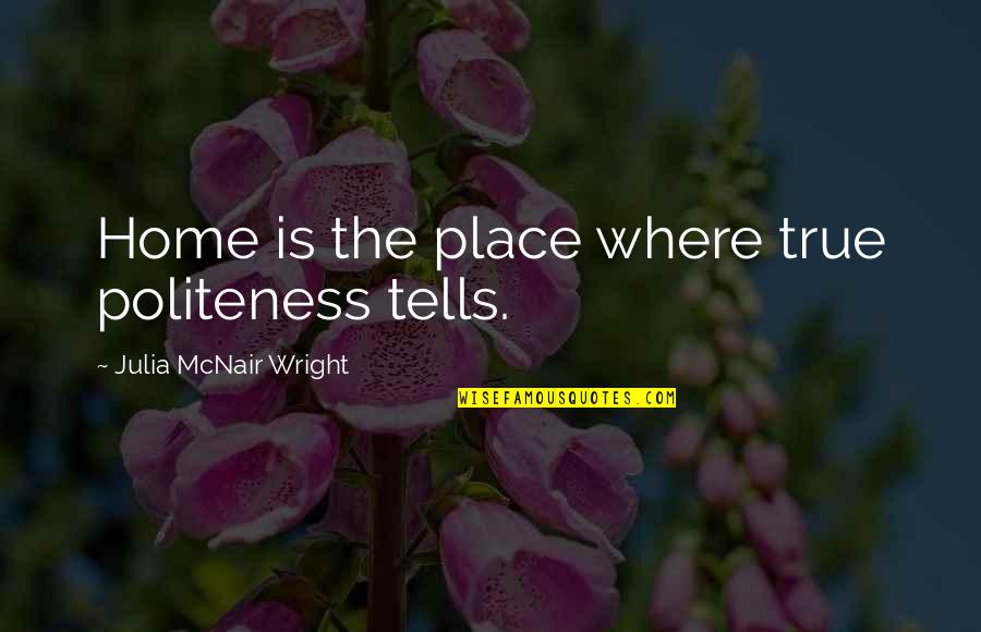 Spiered Quotes By Julia McNair Wright: Home is the place where true politeness tells.
