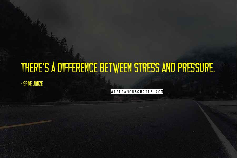 Spike Jonze quotes: There's a difference between stress and pressure.