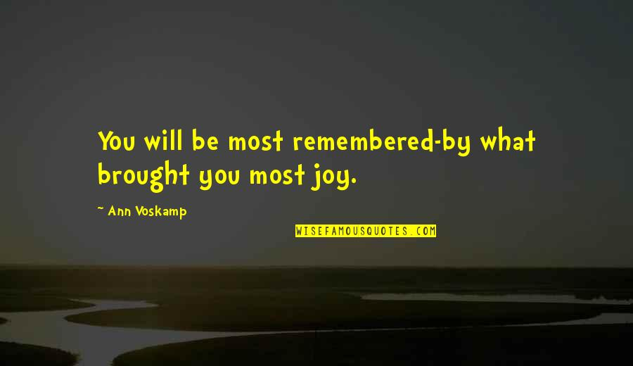 Spinneth Quotes By Ann Voskamp: You will be most remembered-by what brought you