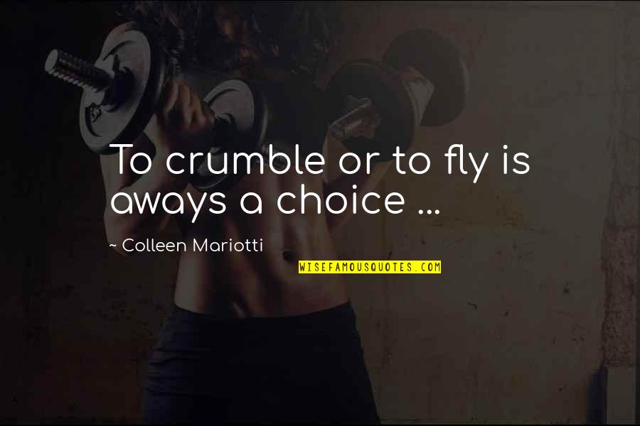 Spinneth Quotes By Colleen Mariotti: To crumble or to fly is aways a