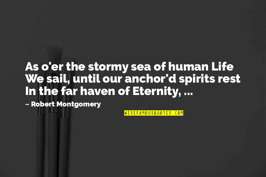 Spirits And Death Quotes By Robert Montgomery: As o'er the stormy sea of human Life