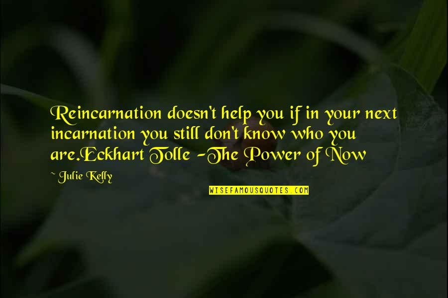 Spirituality And Death Quotes By Julie Kelly: Reincarnation doesn't help you if in your next