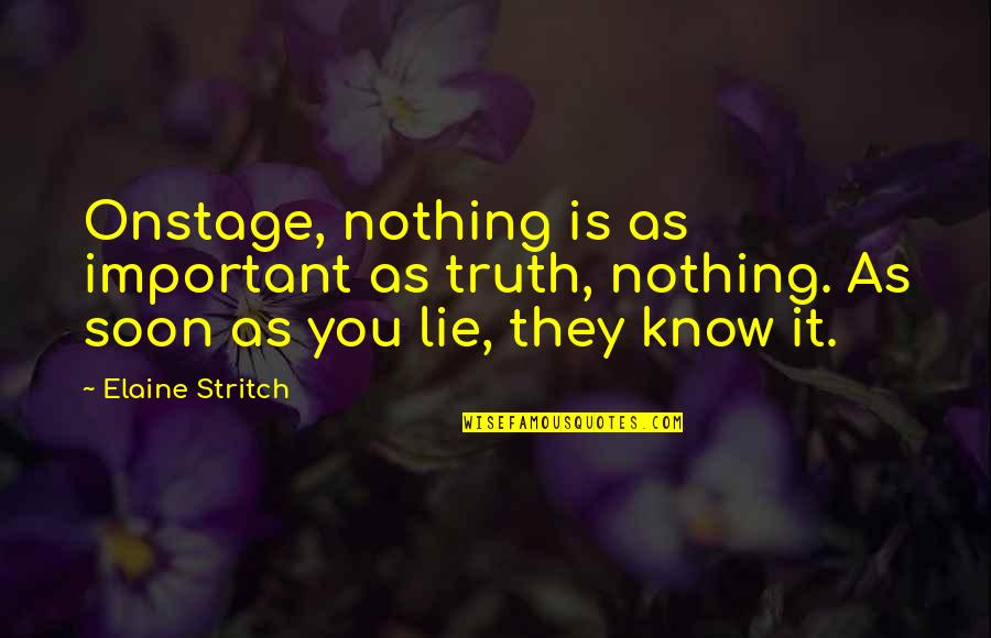 Spongebob Argh Quotes By Elaine Stritch: Onstage, nothing is as important as truth, nothing.