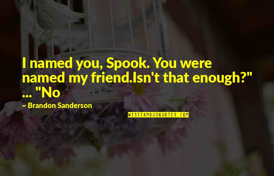Spook's Quotes By Brandon Sanderson: I named you, Spook. You were named my