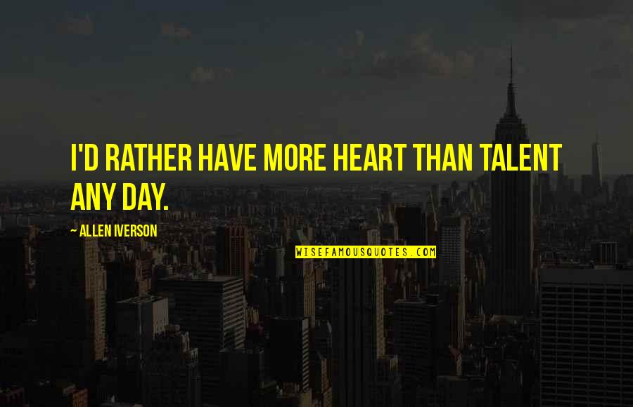 Sports Motivation Quotes By Allen Iverson: I'd rather have more heart than talent any
