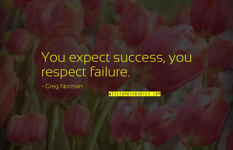 Sports Motivation Quotes By Greg Norman: You expect success, you respect failure.