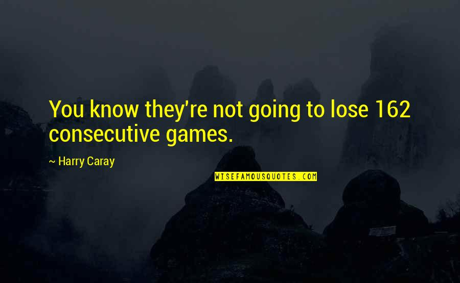 Sports N Games Quotes By Harry Caray: You know they're not going to lose 162