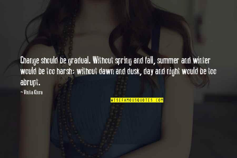 Spring And Change Quotes By Vinita Kinra: Change should be gradual. Without spring and fall,