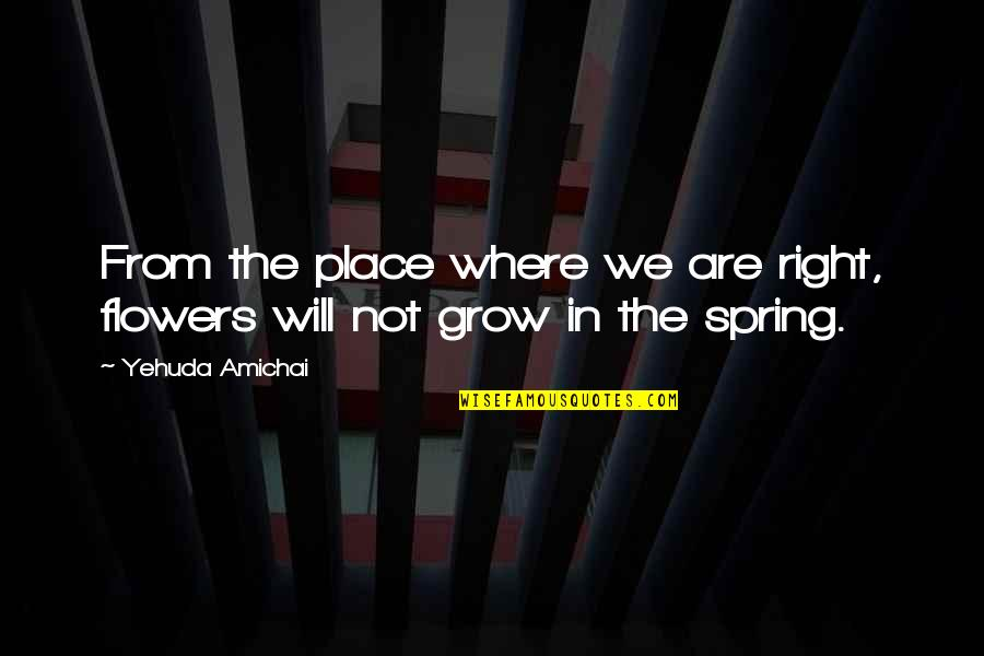 Spring Flowers Quotes By Yehuda Amichai: From the place where we are right, flowers