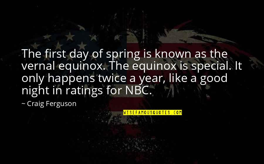 Spring'st Quotes By Craig Ferguson: The first day of spring is known as