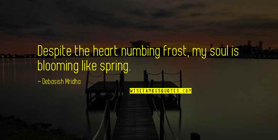 Spring'st Quotes By Debasish Mridha: Despite the heart numbing frost, my soul is