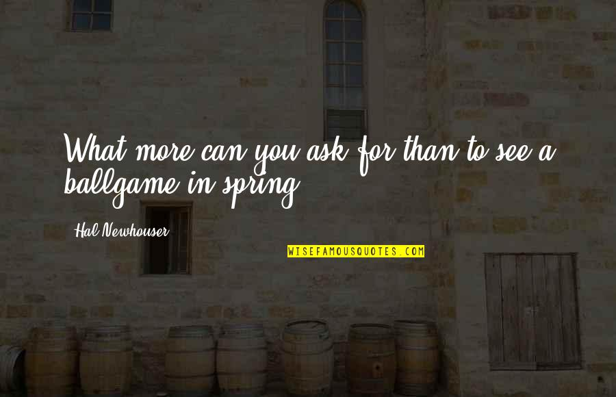 Spring'st Quotes By Hal Newhouser: What more can you ask for than to