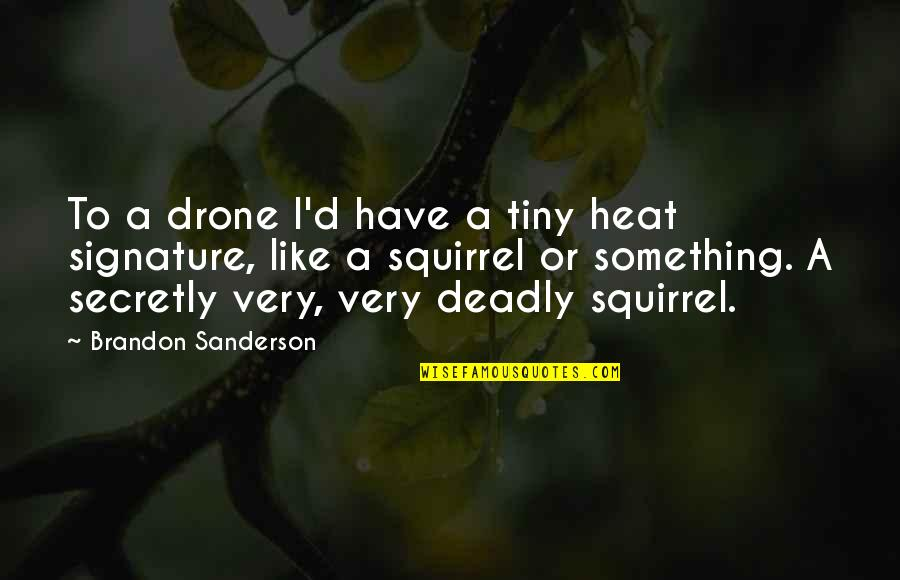 Squirrel Quotes By Brandon Sanderson: To a drone I'd have a tiny heat