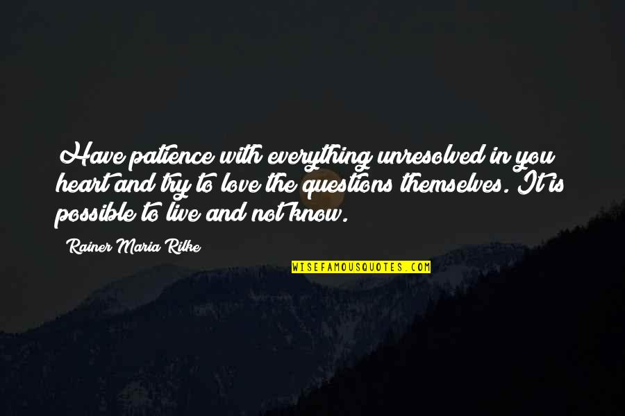 Sri Anandamayi Ma Quotes By Rainer Maria Rilke: Have patience with everything unresolved in you heart