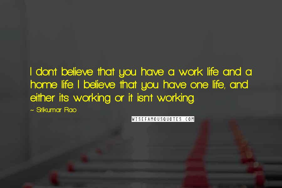 Srikumar Rao quotes: I don't believe that you have a work life and a home life. I believe that you have one life, and either it's working or it isn't working.