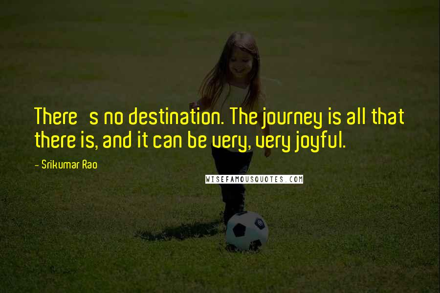 Srikumar Rao quotes: There's no destination. The journey is all that there is, and it can be very, very joyful.