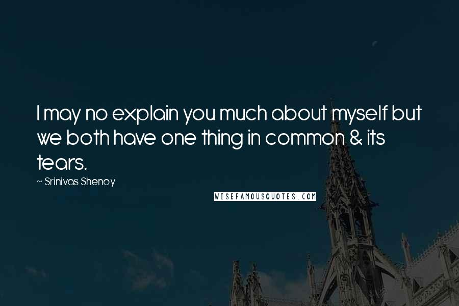 Srinivas Shenoy quotes: I may no explain you much about myself but we both have one thing in common & its tears.