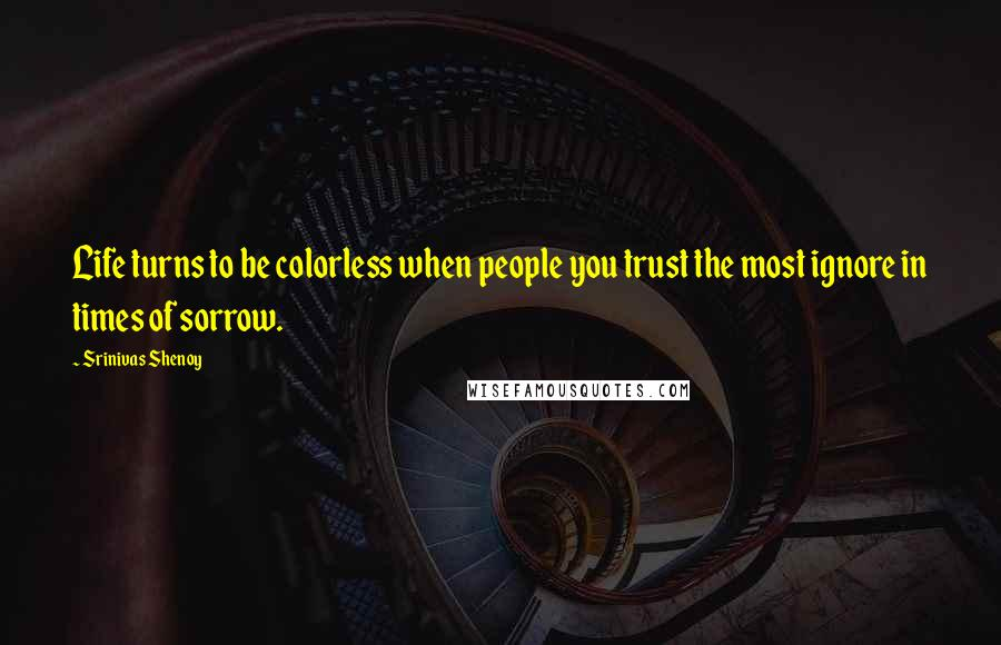 Srinivas Shenoy quotes: Life turns to be colorless when people you trust the most ignore in times of sorrow.