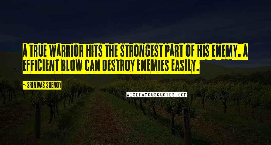 Srinivas Shenoy quotes: A true warrior hits the strongest part of his enemy. A efficient blow can destroy enemies easily.