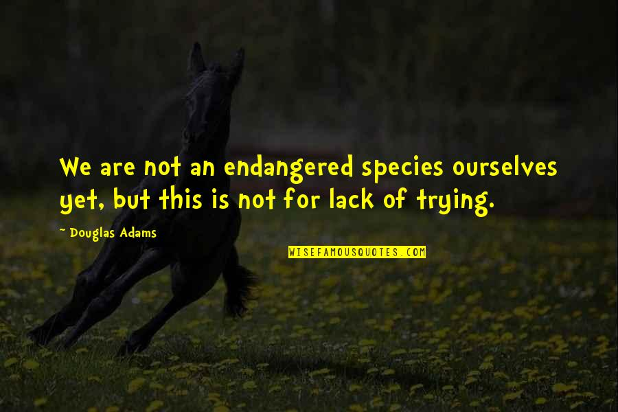 Sssergeant Quotes By Douglas Adams: We are not an endangered species ourselves yet,