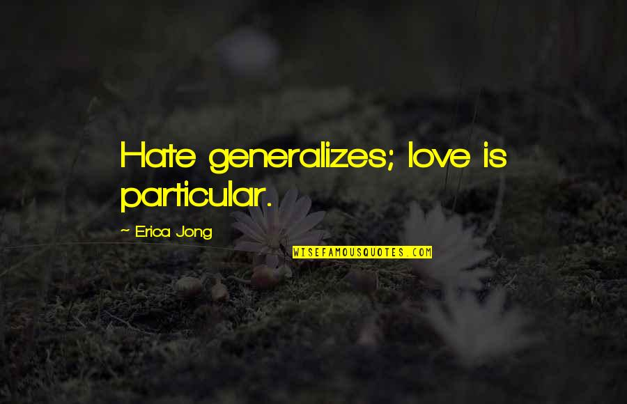 Ssx Tricky Rahzel Quotes By Erica Jong: Hate generalizes; love is particular.