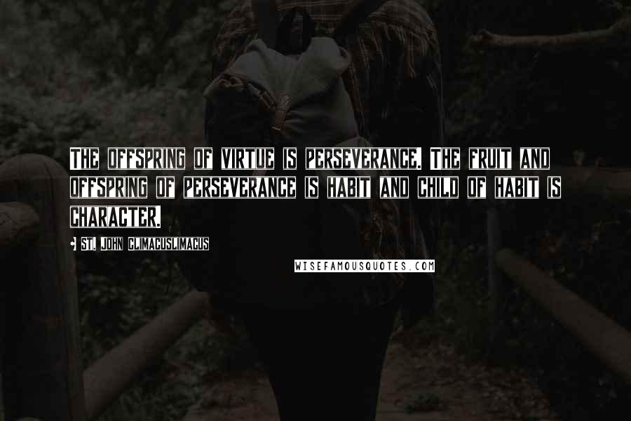 St. John Climacuslimacus quotes: The offspring of virtue is perseverance. The fruit and offspring of perseverance is habit and child of habit is character.