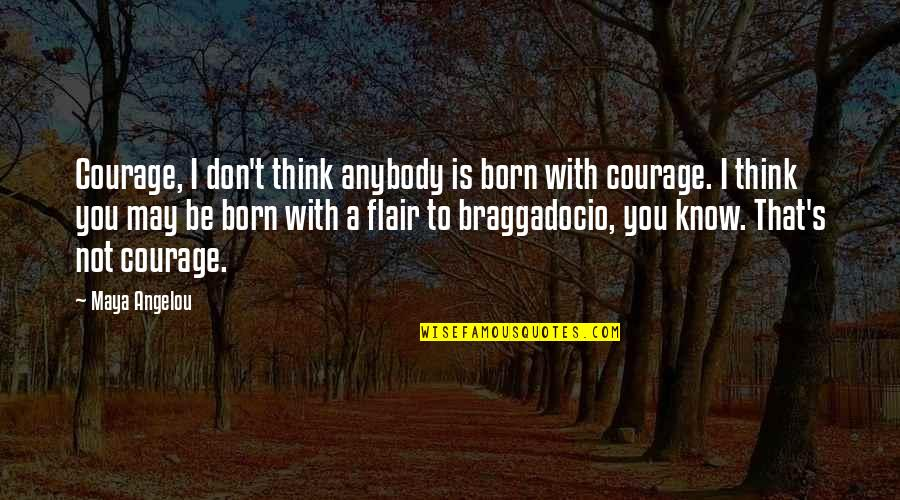Stability Ball Quotes By Maya Angelou: Courage, I don't think anybody is born with