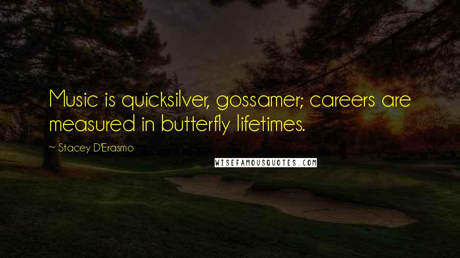 Stacey D'Erasmo quotes: Music is quicksilver, gossamer; careers are measured in butterfly lifetimes.
