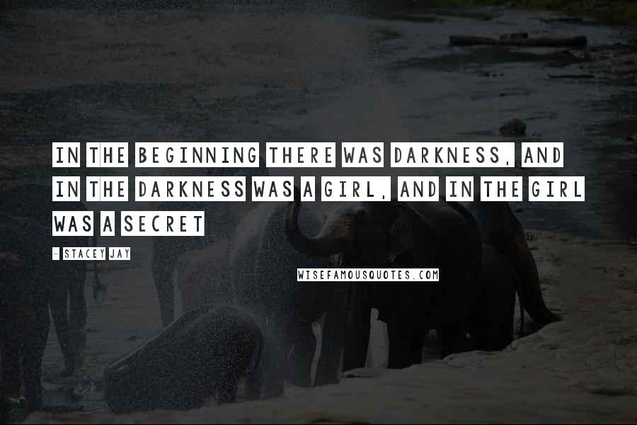 Stacey Jay quotes: In the beginning there was darkness, and in the darkness was a girl, and in the girl was a secret