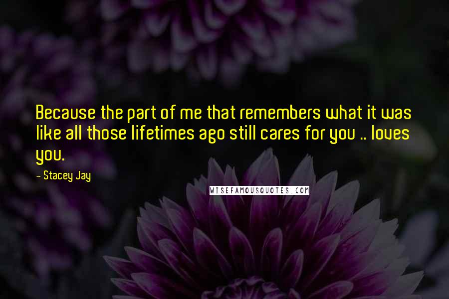 Stacey Jay quotes: Because the part of me that remembers what it was like all those lifetimes ago still cares for you .. loves you.