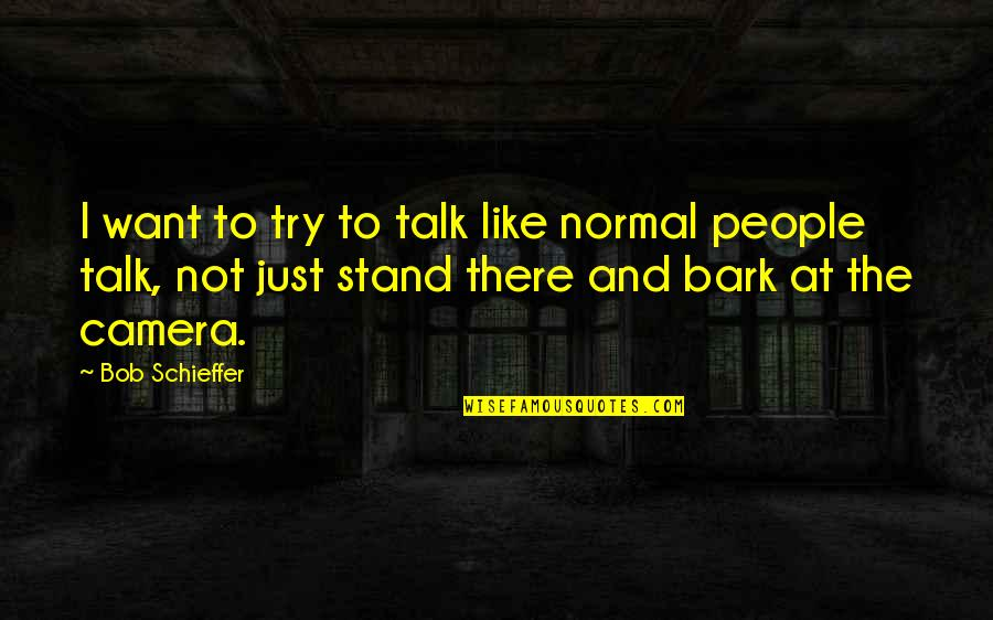 Stand Out Like A Quotes By Bob Schieffer: I want to try to talk like normal