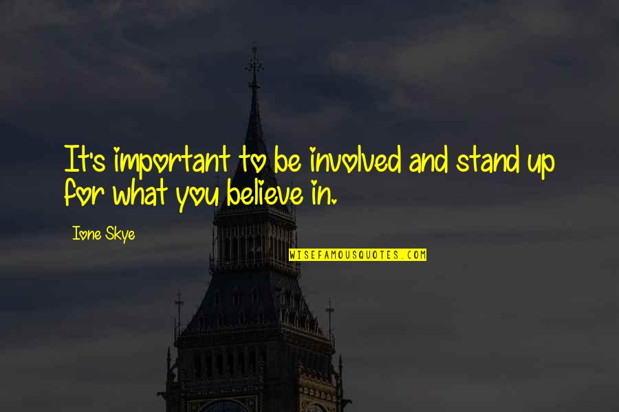 Stand Up For What You Believe Quotes By Ione Skye: It's important to be involved and stand up