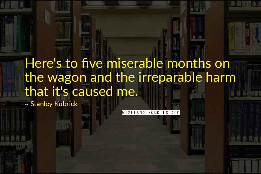 Stanley Kubrick quotes: Here's to five miserable months on the wagon and the irreparable harm that it's caused me.