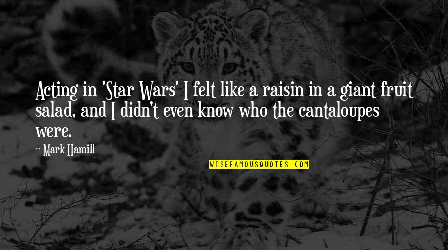 Star Fruit Quotes By Mark Hamill: Acting in 'Star Wars' I felt like a