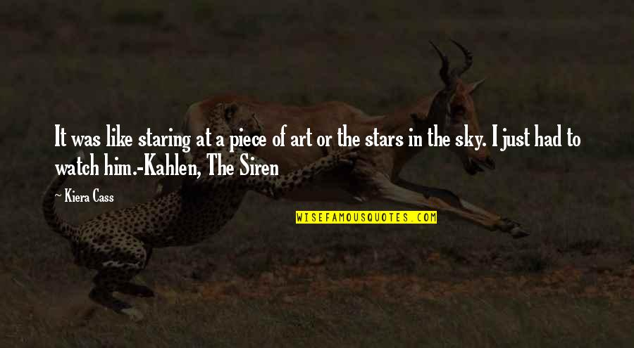 Staring Up At The Stars Quotes By Kiera Cass: It was like staring at a piece of