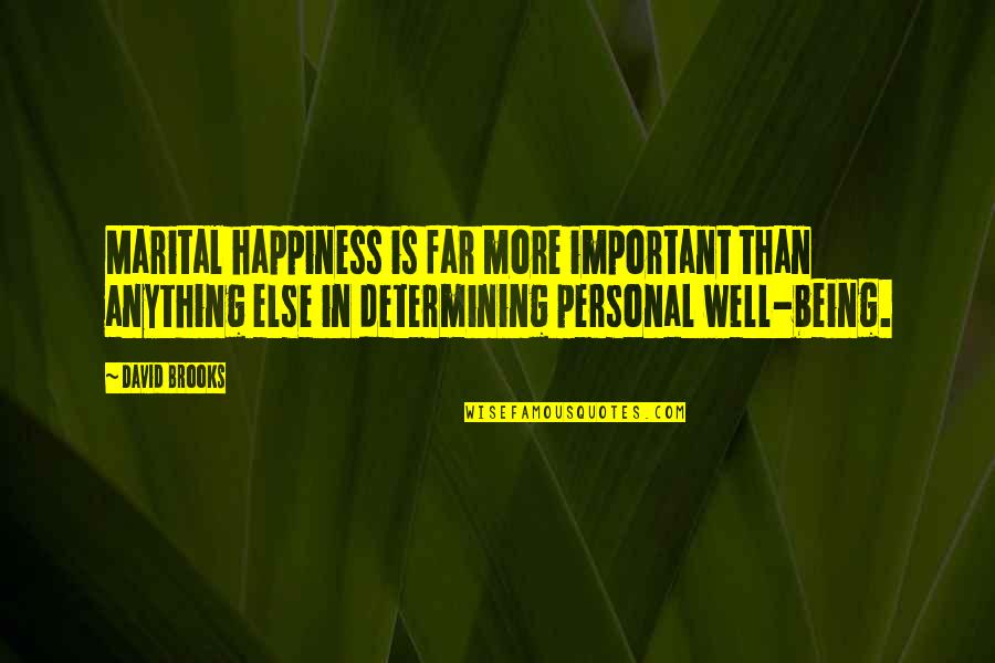 Starling Birds Quotes By David Brooks: Marital happiness is far more important than anything