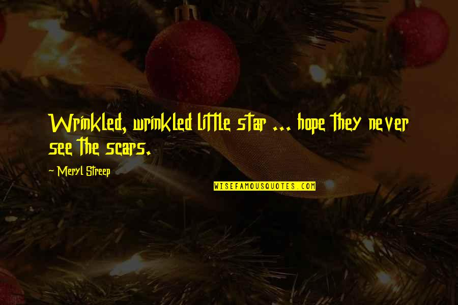 Stars And Hope Quotes By Meryl Streep: Wrinkled, wrinkled little star ... hope they never