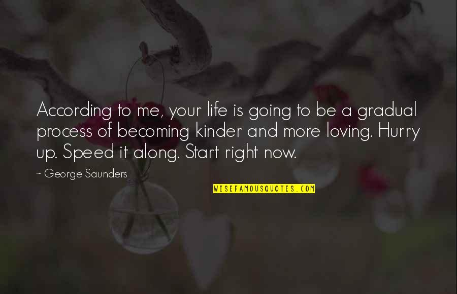 Start Life Now Quotes By George Saunders: According to me, your life is going to