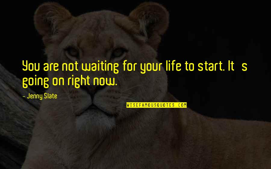 Start Life Now Quotes By Jenny Slate: You are not waiting for your life to