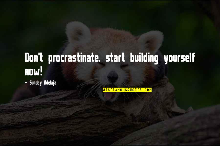 Start Life Now Quotes By Sunday Adelaja: Don't procrastinate, start building yourself now!