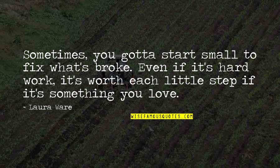 Start To Love Quotes By Laura Ware: Sometimes, you gotta start small to fix what's