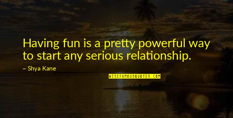 Start To Love Quotes By Shya Kane: Having fun is a pretty powerful way to