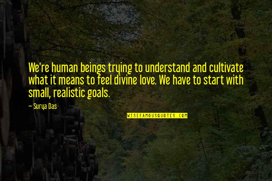 Start To Love Quotes By Surya Das: We're human beings trying to understand and cultivate