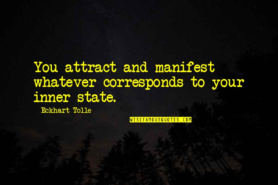 Startegy Quotes By Eckhart Tolle: You attract and manifest whatever corresponds to your