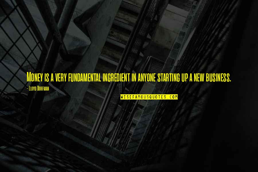 Starting A New You Quotes By Lloyd Dorfman: Money is a very fundamental ingredient in anyone