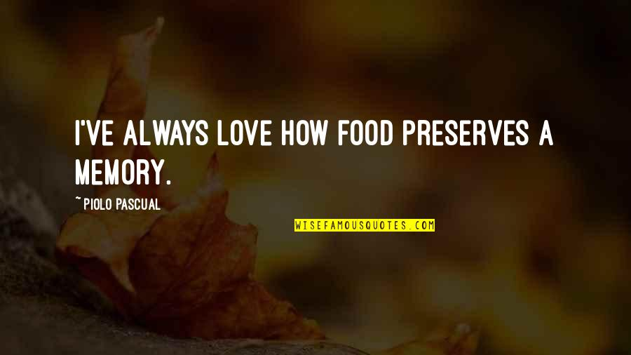 Starting To Love Quotes By Piolo Pascual: I've always love how food preserves a memory.