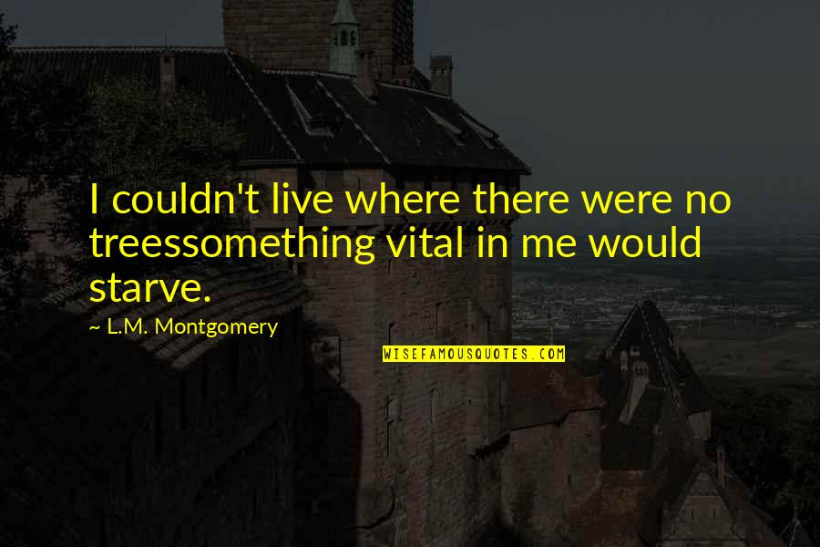 Starve Quotes By L.M. Montgomery: I couldn't live where there were no treessomething